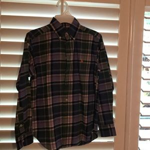 Olive lilac plaid shirt